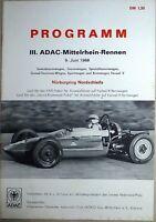 9. Juin 1968 Iii. ADAC Mittelrhein Rennen Nürburgring Brochure de Programme Å