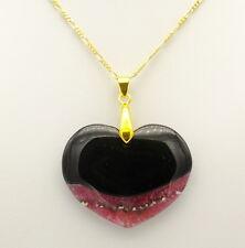 "Black Onyx Pink Crackle Quartz Heart Pendant Necklace 20"" 9ct Gold plated Chain"