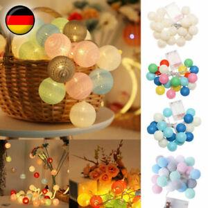 20 LED Lichterkette Baumwoll Balls Kinderzimmer Geburtstag Lichterkette Deko