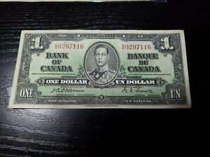 🇨🇦 Canada 1 dollar  1937  P-58e  BC-21 Osborne - Towers  Banknote  010921-12