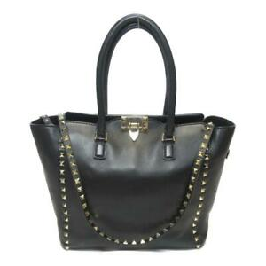 Valentino Garavani Small Rockstud Top Handle Bag Black Calfskin Leather