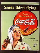 Coca Cola Send Thirst Flying TIN SIGN metal Vtg Wall Decor Coke Pilot Girl