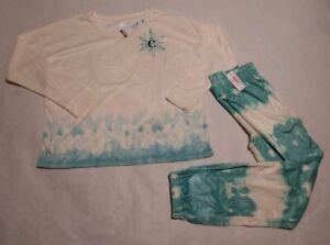 """NWT Justice Girls Ombre Snowflake Pajamas PJs Pajama Set 2PC Initial """"C"""" 16/18"""