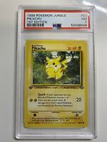 ⚡️PIKACHU 60/64 PSA 7 NM⚡️1999 Pokemon 1st Edition Jungle Set