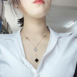 Pearl Rose Gold/Gold Titanium Tassel Black White Flower Clover Pendant Necklace