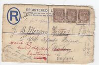 WW1 Mauritius Registered letter 1st Africa Infantry Brigade Woking 1918 Hospital