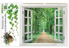 Adesivo parete finestra grande 3D paesaggio verde fiore pianta arte murale V6X1