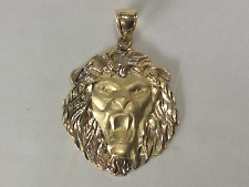 10K Solid Yellow Gold two tone LION head pendant tiger king of the jungle 4.1g