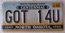 North Dakota 1992 VANITY License Plate GOT ONE FOR YOU
