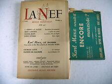 revue littéraire LA NEF n° 43 + bandeau 1948 karl marx cet inconnu Rubel
