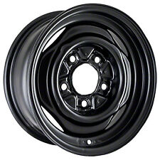 01570 Factory, OEM Reconditioned Steel wheel 15x6; Black Full Face Painted