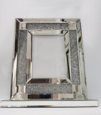 Diamond Crush Large Mirrored Photo Frame with Wide Base. Takes 5X7 Inch Photo.