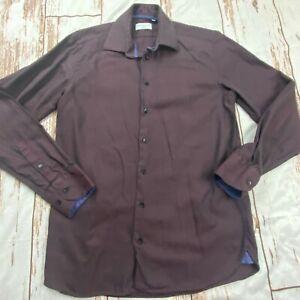 Sebastien James Collection Mens button front shirt-purple/brown-sz Med
