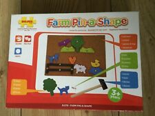 BigJigs, Farm Pin-a-Shape Set, pre-owned.