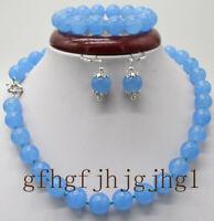 10/12mm Blue Jade Gemstone Beads Bracelet 7.5'' Earring Necklace 18-36'' Set