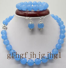 10/12mm Blue Jade Gemstone Beads Bracelet 7.5'' Earring Necklace 18-36'' Set