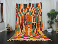 "Boujad Handmade Moroccan Berber Rug 5'6""x8'3 Patchwork Orange Green Red Wool Rug"