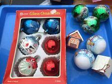 CHRISTMAS VINTAGE Lot GLASS Scene BAUBLES CONCAVE GLITTER Plastic