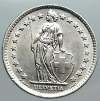 1961 SWITZERLAND - SILVER 2 Francs Coin HELVETIA Symbolizes SWISS Nation i90491