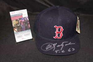 CARL YASTRZEMSKI SIGNED NEW ERA BOSTON RED SOX HAT JSA COA HT037