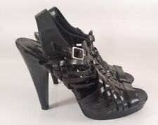 Mossimo Black Vegan Weave Strappy High Heels for Women, Size 7
