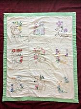 Vintage (1940's-1950's) Baby Quilt Hand Embroidered Animal Squares 29x36 A+