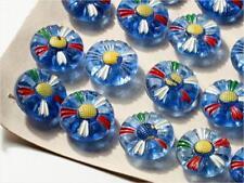 Card (24) 18mm Vintage Czech Deco hand painted blue daisy flower glass buttons