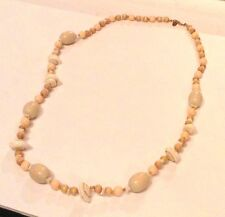 Vintage Miriam Haskell Real Shell, Wooden, and Pink Beaded Necklace
