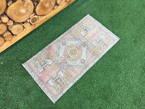 1'7''x3' Vintage Turkish Mat Rug,Oushak Small Rug,Bath Mat,Door Mat,Floor Mats