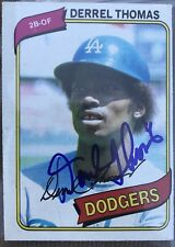 DERREL THOMAS 1980 TOPPS AUTOGRAPH SIGNED CARD DODGERS