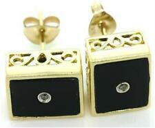 Onyx & Diamond 9K 9ct 375 Solid Gold Stud Earrings  - Free Shipping  30D Returns