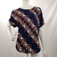 Flamingo Cold Shoulder Womens Top Stretch Geometric Print - Blue/Red/White - XL