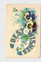 ANTIQUE POSTCARD BEST WISHES HORSE SHOE PANSIES FLOWERS EMBOSSED