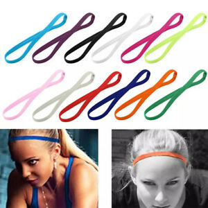Women Men Sport Rubber Elastic Yoga Headband Sweatband Thin Sports Hair Band
