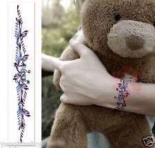 Elegant Jewelry Bracelet Temporary Tattoos  - Blue & Purple Vine Bracelet Tattoo