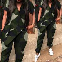Mode Femme Combinaison Loisir Ample Camouflage Col V Poches Pantalon Long Plus