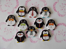 10 WOOD SEWING BUTTONS CUTE PENGUIN SHAPED  MIXED RANDOM CRAFTS/SCRAP BOOKING