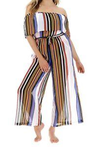 Joanna Hope Bardot Jumpsuit Striped Size 16 Beach Bikini Swimsuit Cover Up New