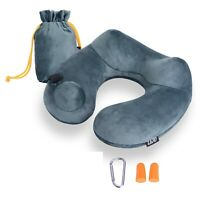 Inflatable Travel Pillow Soft Velvet Neck Support Pillows for Airplanes