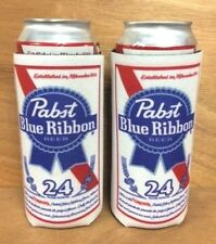 Pabst Blue Ribbon Pbr Beer 24 Oz Can Koozie Cooler Pounder +Two (2) Pack New F/S