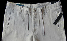 Men's PERRY ELLIS Alloy Gray Pure Linen Drawstring Pants Tagged 36 NWT NEW Wow!