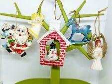 1960s Vintage Christmas decorations baubles, Hong Kong Japan angel Santa snowman