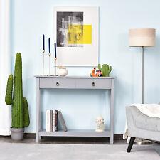 Console Desk Industrial Table W/ Drawer Bottom Shelf Living Room, Entryway Grey