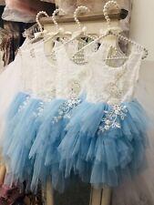 Azul de bebé Tul Tutú De Espalda Abierta De Apliques De Bohemia Flores Niña Vestido De Ocasión