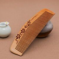 Hair Engraved Natural Peach Wood Wooden Comb Anti-Static Hair Brush Comb Tool