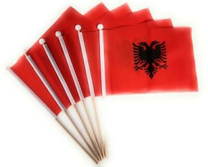 Albania Hand Flag 6 Pack FREE UK DELIVERY!