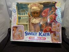 VINTAGE OLD SWEET KATIE DOLL FEEDING SET WITH HIGH CHAIR AND ACCESSORIES