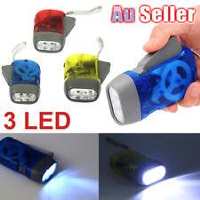 3 LED Dynamo NR AZ Torch Light Hand Press Flashlight Wind Up Crank Camping