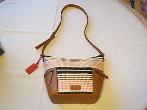 Fossil  ZB6794678 Emerson Fabric Small Hobo Pink Stripe xbdy handbag purse NWT*^