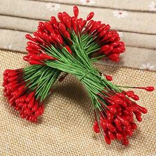 100 Red Berries Artificial Flower Double Heads Green Wire  Craft Wedding Decor